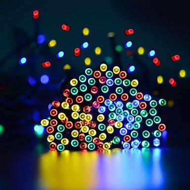 15 ม. ไฟสาย 100 ไฟ LED 1 ตั้งวงเล็บยึด ขาวนวล / ขาวเย็น / RGB Waterproof / พลังงานแสงอาทิตย์ / ปาร์ตี้ พลังงานแสงอาทิตย์ 1set