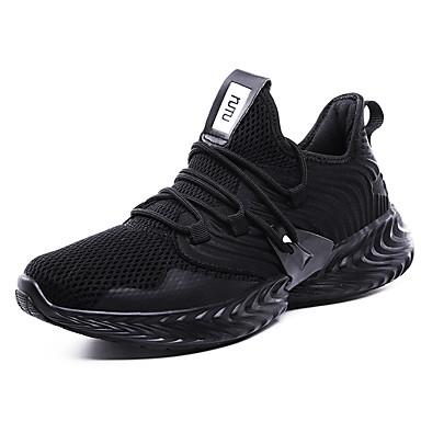 สำหรับผู้ชาย รองเท้าสบาย ๆ ถัก ตก / ฤดูร้อนฤดูใบไม้ผลิ Sporty / Preppy รองเท้ากีฬา สำหรับวิ่ง ระบายอากาศ สีดำ / สีเขียว / สีเทา / การกรีฑา / ไม่ลื่นไถล / ช็อตดูดซับ