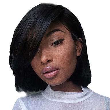 วิกผมจริง มีลูกไม้ด้านหน้า วิก บ๊อบตัดผม สั้นบ๊อบ ส่วนด้านข้าง สไตล์ ผมบราซิล Silky Straight ดำ วิก 130% Hair Density ผมเด็ก เส้นผมธรรมชาติ สำหรับผู้หญิงผิวดำ 100% บริสุทธิ์ 100% มือผูก สำหรับผู้หญิง