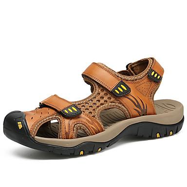 สำหรับผู้ชาย รองเท้าสบาย ๆ แน๊บป้า Leather ฤดูร้อนฤดูใบไม้ผลิ Sporty / ไม่เป็นทางการ รองเท้าแตะ ระบายอากาศ สีดำ / สีน้ำตาล / สีกากี / กลางแจ้ง