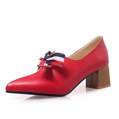 สำหรับผู้หญิง รองเท้าส้นสูง ส้นหนา PU ฤดูใบไม้ผลิ & ฤดูใบไม้ร่วง สีดำ / แดง / ผ้าขนสัตว์สีธรรมชาติ