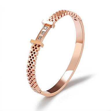 สำหรับผู้หญิง ล้าง ขาว Cubic Zirconia กำไล มีความสุข แฟชั่น Titanium Steel สร้อยข้อมือเครื่องประดับ Rose Gold สำหรับ ปาร์ตี้ ทุกวัน
