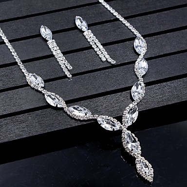 cheap Hair Jewelry-Women's Crystal Jewelry Set Drop Earrings Pendant Necklace Marquise Cut Drop Ladies Fashion Elegant Bridal everyday Rhinestone Earrings Jewelry Silver For Wedding Party Anniversary Congratulations