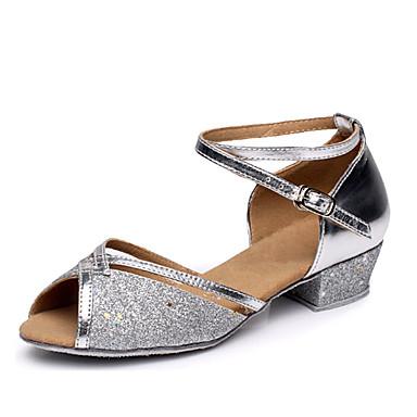 preiswerte Samba Tanzschuhe-Damen Tanzschuhe Paillette Schuhe für den lateinamerikanischen Tanz Absätze Niedriger Heel Maßfertigung Silber / Fuchsia / Blau / Leder / Praxis / EU40