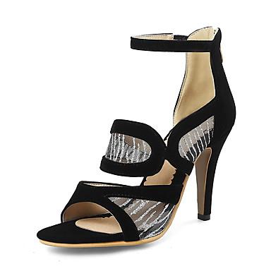 สำหรับผู้หญิง รองเท้าแตะ ส้น Stiletto เปิดนิ้ว หมุดย้ำ PU วินเทจ / อังกฤษ ฤดูร้อน สีดำ / แดง / ฟ้า / พรรคและเย็น / พรรคและเย็น
