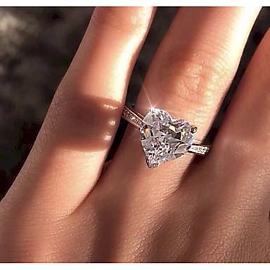 สำหรับผู้หญิง แหวน / แหวนหมั้น Cubic Zirconia 1pc ขาว ทองชุบ / โลหะผสม Geometric Shape ความหรูหรา งานแต่งงาน / การหมั้น เครื่องประดับเครื่องแต่งกาย / Heart / เล่นไพ่คนเดียว