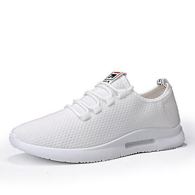 สำหรับผู้ชาย Light Soles ตารางไขว้ ฤดูร้อน Sporty / ไม่เป็นทางการ รองเท้ากีฬา สำหรับวิ่ง / วสำหรับเดิน ระบายอากาศ สีดำ / ขาว / แดง / การกรีฑา