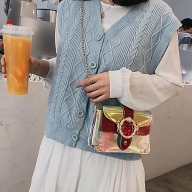 สำหรับผู้หญิง PU Crossbody Bag สีทึบ สีแดงชมพู / สีเงิน / สีน้ำเงิน