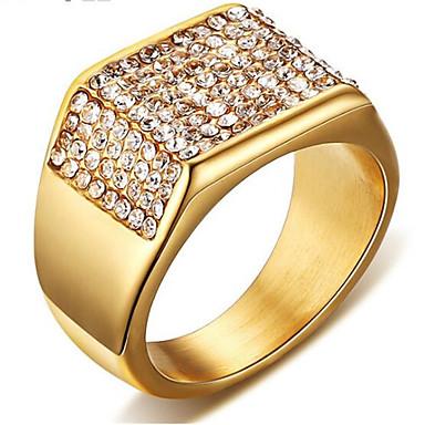 levne Pánské šperky-Pánské Prsten Kubický zirkon 1ks Zlatá Titanová ocel Obdélníkový stylové Párty Denní Šperky Klasika Gypsophila Cool