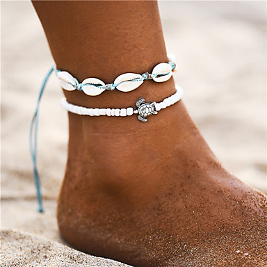 cheap Designer Jewelry-Ankle Bracelet feet jewelry Bohemian Fashion Women's Body Jewelry For Daily Holiday Braided Shell Alloy Turtle Shell White 2pcs