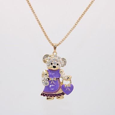 levne Dámské šperky-Dámské Náhrdelníky s přívěšky Náhrdelník dlouhý náhrdelník Animace Medvěd Zvíře Jedinečný design Anime Sladký Cute Style Pozlacené Chrome Fialová Modrá Růžová 70 cm Náhrdelníky Šperky 1ks Pro