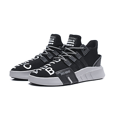 สำหรับผู้หญิง รองเท้ากีฬา ส้นแบน ปลายกลม Tissage Volant ฤดูร้อนฤดูใบไม้ผลิ สีดำและสีขาว