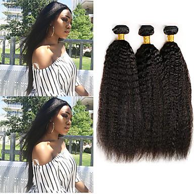 povoljno Ekstenzije od ljudske kose-3 paketa Malezijska kosa Yaki Yaki Straight Virgin kosa 100% Remy kose tkanja Bundle Ljudske kose plete Bundle kose Ekstenzije od ljudske kose 8-28 inch Prirodna boja Isprepliće ljudske kose