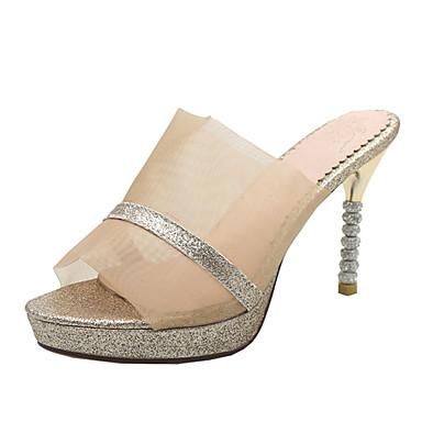 สำหรับผู้หญิง รองเท้าแตะ Heterotypic Heel เปิดนิ้ว PU คลาสสิก / อังกฤษ ฤดูร้อน สีทอง / สีเงิน / พรรคและเย็น / พรรคและเย็น