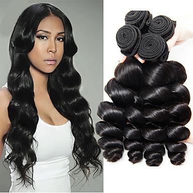 4 Bundles / กลุ่ม ผมบราซิล ลอนใหญ่ ไม่ได้เปลี่ยนแปลง 100% Remy Hair Weave Bundles เครื่องประดับศรีษะ มนุษย์ผมสาน มัดผม 8-28 inch สีธรรมชาติ สานเส้นผมมนุษย์ Odor Free / ลอนธรรมชาติ