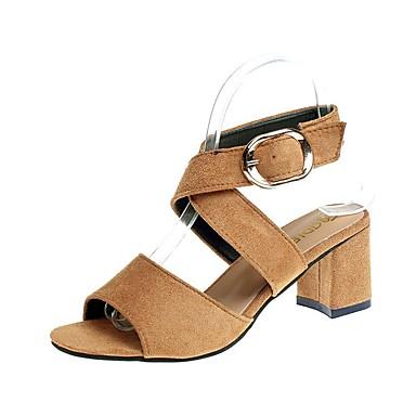 สำหรับผู้หญิง รองเท้าแตะ ส้นหนา หนังนิ่ม ฤดูร้อน สีดำ / ไวน์ / สีน้ำตาล