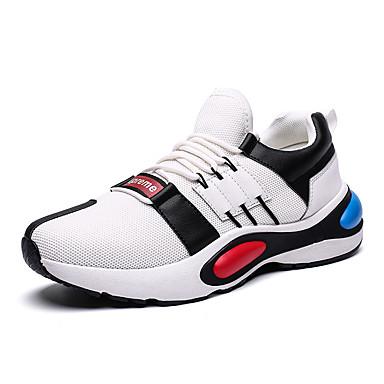สำหรับผู้ชาย Light Soles ตารางไขว้ ฤดูร้อน Sporty / ไม่เป็นทางการ รองเท้ากีฬา สำหรับวิ่ง / วสำหรับเดิน ระบายอากาศ สีดำ / ขาว / สีเทา / การกรีฑา