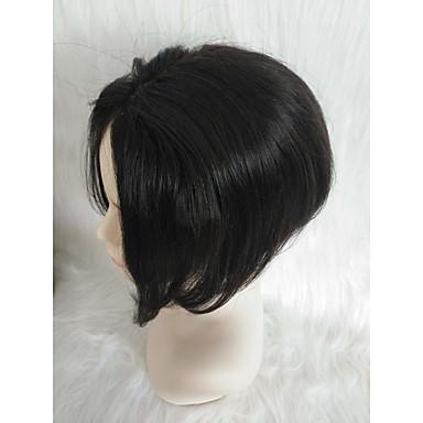วิกผมจริง มีลูกไม้ด้านหน้า วิก อสมมาตรตัดผม สไตล์ ผมบราซิล Straight ดำ วิก 130% Hair Density น่ารัก สำหรับผู้หญิง Short อื่นๆ