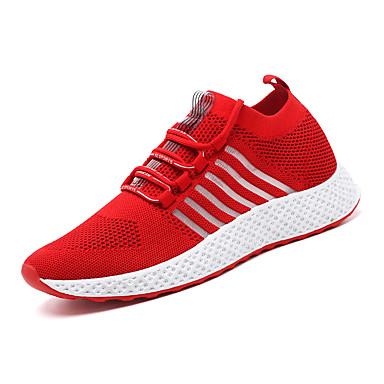 สำหรับผู้ชาย รองเท้าสบาย ๆ ผ้ายืดหยุ่น ฤดูร้อนฤดูใบไม้ผลิ Sporty / ไม่เป็นทางการ รองเท้ากีฬา สำหรับวิ่ง ระบายอากาศ สีดำ / ขาว / แดง / ช็อตดูดซับ
