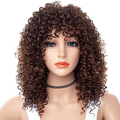 วิกผมสังเคราะห์ Afro Kinky ฟรี Part ผมปลอม ขนาดกลาง น้ำตาล / สีเบอร์กันดี สังเคราะห์ 18 inch สำหรับผู้หญิง ผู้หญิง สังเคราะห์ สำหรับผู้หญิงผิวดำ น้ำตาล