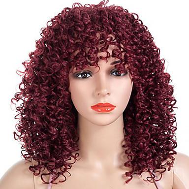 วิกผมสังเคราะห์ ผมม้า Afro Kinky ฟรี Part ผมปลอม สีแดงเบอร์กันดี ขนาดกลาง สีดำและสีทอง ดำ / สีเบอร์กันดี สังเคราะห์ 18 inch สำหรับผู้หญิง การออกแบบทางด้านแฟชั่น ผู้หญิง สำหรับผู้หญิงผิวดำ