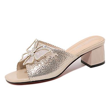 สำหรับผู้หญิง รองเท้าแตะ ส้นหนา เลื่อม / หินประกาย Synthetics หวาน / อังกฤษ ตก / ฤดูร้อนฤดูใบไม้ผลิ สีดำ / สีทอง