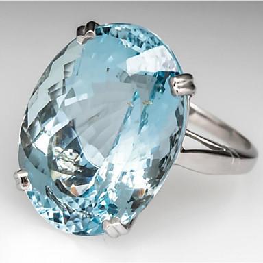 levne Dámské šperky-Dámské Prsten Zásnubní prsten Akvamarín 1ks Bílá Světle modrá Měď Oválný stylové Párty Zásnuby Šperky Klasika Radost Cool