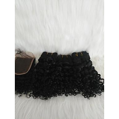povoljno Ekstenzije za kosu-Kosa koja se plete Kovrčav tkati Ljudska kosa 4 komada Sušilo za pletenice Crna 14 inča proširenje Youth Spoj Ulica Malezijska kosa