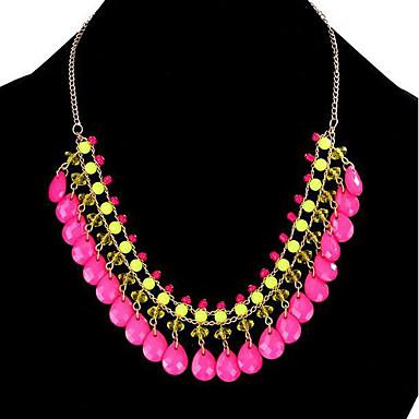 Dam Uttalande Halsband Lasso Hängande Statement damer Mode folk Style Läder Legering Gul Ros rosa Blå Halsband Smycken Till Party Speciellt Tillfälle Födelsedag Gåva