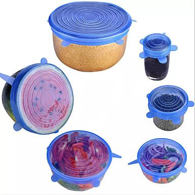povoljno Kuhinja za pohranu-6pcs silicijski rastegljivi poklopi univerzalni poklopac silikonski omotač hrane posuda lonac poklopac silikonski poklopac posuda za kuhanje kuhinjski čepovi