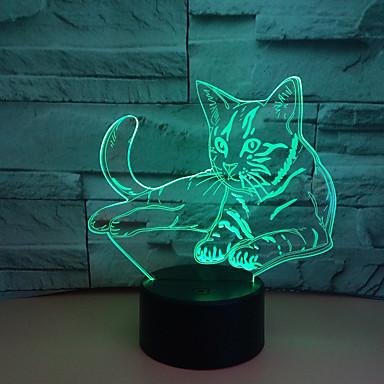 1pc Nightlight 3D RGB USB เปลี่ยนสีได้ / มีพอร์ต USB <5 V