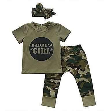 povoljno Odjeća za bebe-Dijete Djevojčice Osnovni Print Print Kratkih rukava Regularna Pamuk Komplet odjeće Vojska Green / Dijete koje je tek prohodalo
