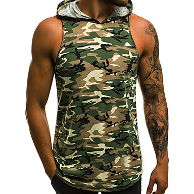 สำหรับผู้ชาย เสื้อกล้าม ตัดออก ฮู้ด อำพราง ใบไม้สีเขียวที่มีสามแฉก