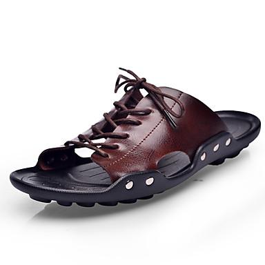 สำหรับผู้ชาย Novelty Shoes Microfibre ฤดูร้อนฤดูใบไม้ผลิ รองเท้าแตะและรองเท้าแตะ ระบายอากาศ สีดำ / สีน้ำตาลอ่อน / น้ำตาลเข้ม