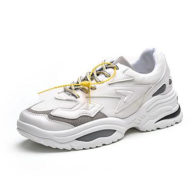 สำหรับผู้ชาย รองเท้าผ้าใบ Clunky ตารางไขว้ ฤดูร้อน Sporty / ไม่เป็นทางการ รองเท้ากีฬา สำหรับวิ่ง / วสำหรับเดิน ระบายอากาศ สีดำและสีขาว / สีดำ / สีแดง / ขาว / การกรีฑา