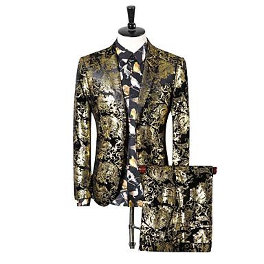 สำหรับผู้ชาย ขนาดพิเศษ ชุด, ลายโค้ง ปกคอแบะของเสื้อแบบน็อตช์ เส้นใยสังเคราะห์ สีทอง