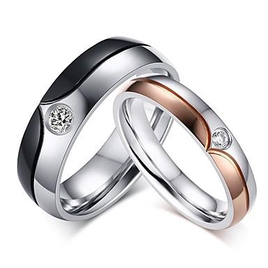สำหรับคู่รัก แหวนคู่ Cubic Zirconia 2pcs ขาว เหล็กกล้าไร้สนิม ทองชุบ Stylish คลาสสิก การหมั้น คำมั่นสัญญา เครื่องประดับ