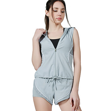 ชุดทำงาน Outfits / Yoga สำหรับผู้หญิง การฝึกอบรม / Performance Elastane / polyster ข้อต่อ เสื้อไม่มีแขน เสื้อโค้ท / กางเกงขาสั้น