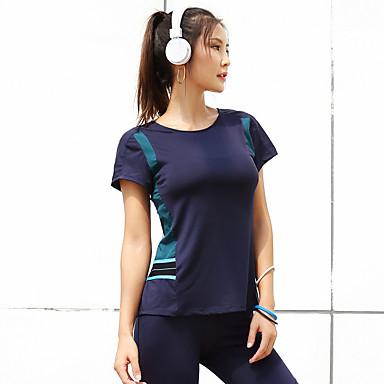 สำหรับผู้หญิง ลายต่อ โยคะยอดนิยม สลับ Elastane โยคะ วิ่ง การออกกำลังกาย เสื้อยึด แขนสั้น ชุดทำงาน ระบายอากาศ ผสมยางยืดไมโคร