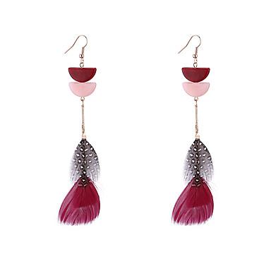 สำหรับผู้หญิง Drop Earrings ต่างหู ต่างหูห้อย โบราณ Feather วินเทจ โบฮีเมียน เกี่ยวกับยุโรป ชาติพันธุ์ แฟชั่น ขนนก ต่างหู เครื่องประดับ ฟ้า / สีชมพู / สีแดงเข้ม สำหรับ ทุกวัน ฮอลิเดย์ เทศกาล 1 คู่