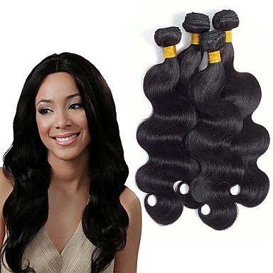povoljno Ekstenzije od ljudske kose-6 paketića Indijska kosa Tijelo Wave Netretirana  ljudske kose Jedan Pack Solution Ekstenzije od ljudske kose 8-28 inch Prirodna boja Isprepliće ljudske kose Nježno Jednostavan dressing Najbolja