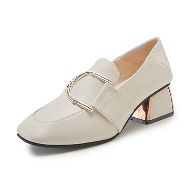 สำหรับผู้หญิง รองเท้าส้นสูง ส้นหนา Square Toe PU minimalism ฤดูใบไม้ผลิ สีดำ / ผ้าขนสัตว์สีธรรมชาติ / ทุกวัน