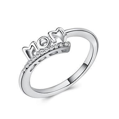 billige Motering-Dame Statement Ring Ring Micro Pave Ring Kubisk Zirkonium 1pc Hvit Kobber Geometrisk Form Luksus Unikt design Europeisk Fest Gave Smykker Klassisk Bokstaver Kul