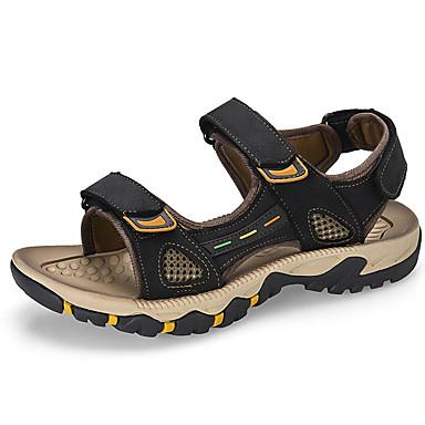 สำหรับผู้ชาย รองเท้าสบาย ๆ หนัง ฤดูใบไม้ผลิ / ฤดูร้อน Sporty / ไม่เป็นทางการ รองเท้าแตะ ระบายอากาศ สีดำ / สีน้ำตาล / กลางแจ้ง