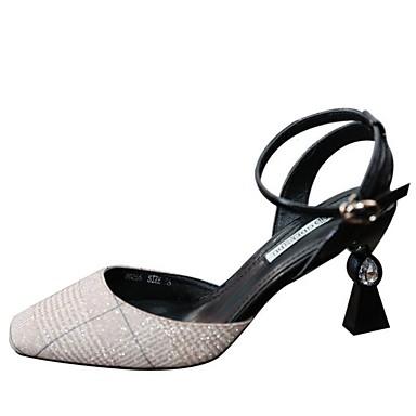 สำหรับผู้หญิง รองเท้าส้นสูง ส้นกรวย หนังเทียม ฤดูใบไม้ผลิ สีชมพู / เงิน / ทุกวัน