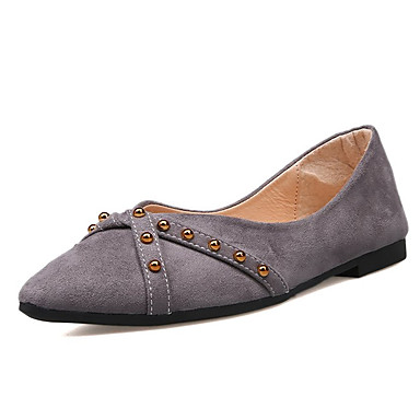 สำหรับผู้หญิง รองเท้าส้นเตี้ย ส้นแบน Pointed Toe PU ไม่เป็นทางการ ฤดูใบไม้ผลิ สีดำ / สีชมพู / สีเทา