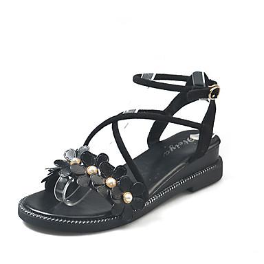 สำหรับผู้หญิง รองเท้าแตะ รองเท้าส้นตึก หินประกาย PU ไม่เป็นทางการ ฤดูร้อน สีดำ / Almond / ผ้าขนสัตว์สีธรรมชาติ