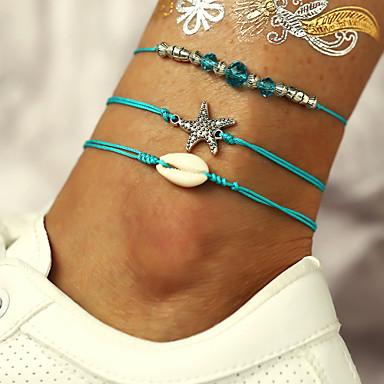 สำหรับผู้หญิง Cubic Zirconia สร้อยข้อมือข้อเท้า Tropical ปลาดาว เปลือกหอย Puka Shell เกี่ยวกับยุโรป อินเทรนด์ ลำลอง / สปอร์ต สร้อยข้อเท้า เครื่องประดับ สีเขียว สำหรับ ทุกวัน เทศกาลคานาวาล Street