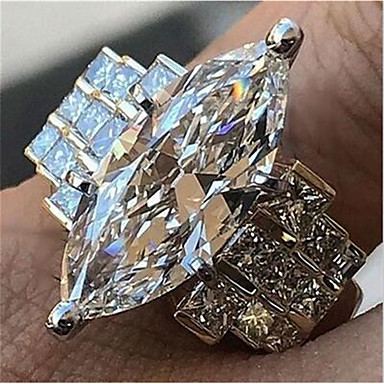 cheap Rings-Women's Promise Ring Cubic Zirconia 1pc White Copper Geometric Stylish Iridescent Wedding Daily Jewelry Classic Joy Cool