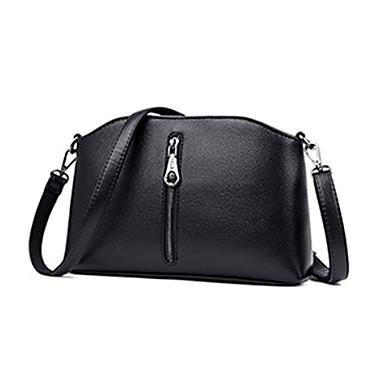 สำหรับผู้หญิง ซิป Crossbody Bag PU สีทึบ ทับทิม / สีม่วง / สีน้ำตาล / ฤดูใบไม้ร่วง & ฤดูหนาว